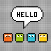 Caracteres de 8 bits Pxiel dicen Hola