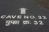 Cave No 32 written on Road at Ajantha Caves, India