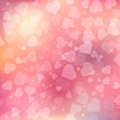 Abstract bokeh heart background.