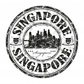 Singapore grunge rubber stamp