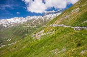 Mountain Road In Swiss Alps, Furkapass, Switzerland