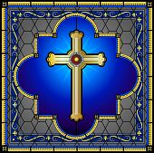 Stained glass cross with patterned background
