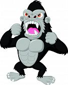 picture of gorilla  - Vector illustration of Angry gorilla cartoon character - JPG