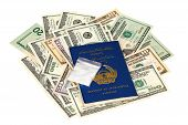 Package With Drug Over The Afghan Passport And U.s. Dollars