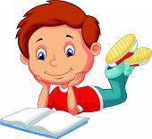 Cute boy cartoon reading book