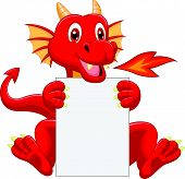 Cute dragon cartoon holding blank sign