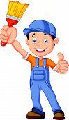 Cartoon painter giving thumb up