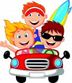 image of car ride  - Vector illustration of Cartoon Young man and woman having fun driving their car on a road trip - JPG