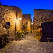 Civita Di Bagnoregio Landmark, Medieval Village View On Twilight. Italy