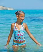 Swimming cute girl