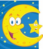 Smiling Crescent Moon And Little Star