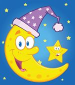 Smiling Crescent Moon With Sleeping Hat And Happy Little Star