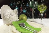 Vintage Turkey Tureen with green theme festive table setting