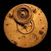 Circular Brass Watch Clock Part With Spring And Gear
