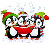 stock photo of christmas song  - Three cute Christmas carolers penguins - JPG