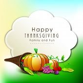 Happy Thanksgiving Day celebration concept with fruits and vegetables on nature background, can be use as flyer, banner or poster.
