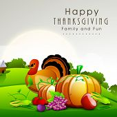 Happy Thanksgiving  Day celebration concept with fruits, vegetables and turkey bird on nature background, can be use as flyer, banner or poster