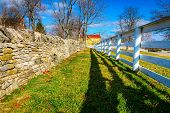 picture of old stone fence  - Traditional stone and wooden fences - JPG
