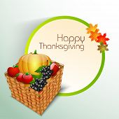 Happy Thanksgiving Day celebration concept with wooden basket with full of fruits and vegetables and space for your text.