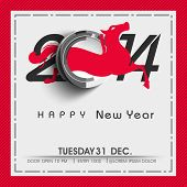 Stylish Happy New Year 2014 celebration poster, banner, flyer or poster with Chinese symbol of the year Horse in red color on grey background.