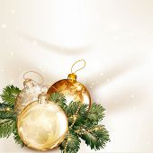 Christmas Background With Baubles And Fir Tree Branches On A Clean Space