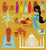 India: Landmarks, Symbols and Icons - Set of India-themed design elements, including Taj Mahal, Indi