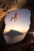 Rock climber falling