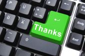 image of thank you  - thanks written on computer button to say thank you - JPG
