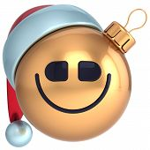 Smile Christmas ball New Year smiling bauble happy Santa hat smiley face icon
