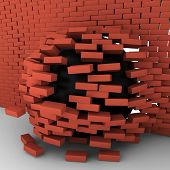 Black Ball Moving Through Brick Wall
