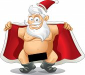 stock photo of indecent  - Crazy vector of a flasher Santa - JPG