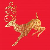 golden deer on a red background.