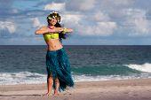 Beautiful, Smiling Hula Dancer On Beach