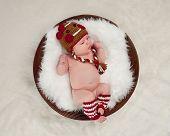 Newborn Baby Wearing A Gingerbread Girl Hat