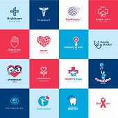 stock photo of cardiology  - Set of vector medical and healthcare icons - JPG