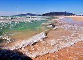stock photo of tarifa  - waves on the beach los lances en tarifa andalusia costa de la luz - JPG