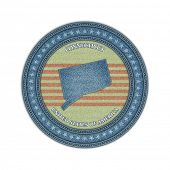 Label with map of connecticut. Denim style. Vector eps 10