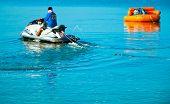 Donut boat and JetSki at Bangsan beach Thailand.