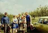 ANIELIN, POLAND, CIRCA SEVENTIES: vintage photo of big multigenerational family outdoor, Anielin, Po