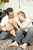 Loving Couple With Cat poster