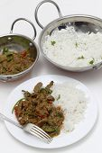 A meal of spiced lamb curry with coriander leaves and slivers of red and green chillies, served with