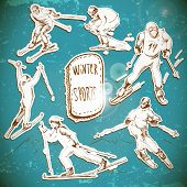 Winter sports, skier scetch