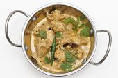 Homemade balti chicken pasanda, made with spices, yoghurt, cream and chopped coriander and chillies