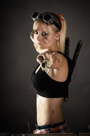 foto of shoulder-blade  - portrait of a beautiful woman with a sword - JPG