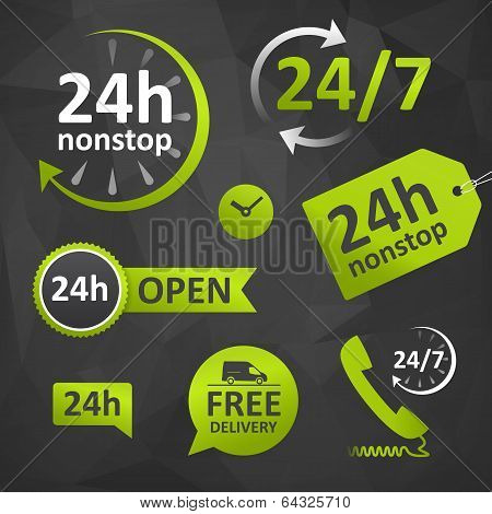 Call Us, Open Hours, Free Delivery - Twenty Four Hours poster