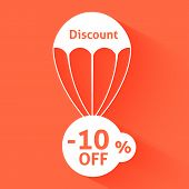 image of parachute  - Discount parachute with text of the size of the discount - JPG