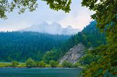 stock photo of pieniny  - Foggy morning by The Dunajec River Gorge in The Pieniny Mountains - JPG