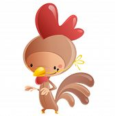 Cartoon Happy Smiling Kid Wearing Funny Carnival Rooster Costume