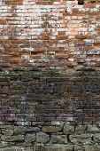 Abstract Background Of Old Brickwork. Old, Cracked, Weathered Brick Wall.