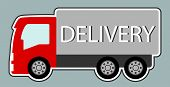 image of truck-cabin  - isolated icon delivery truck with red cabin - JPG